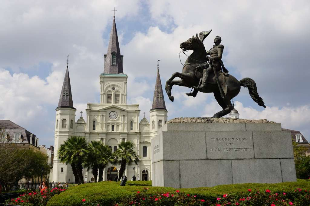 French Quarter with Kids - Jackson Square statue and cathedral