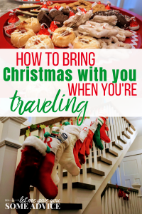 How to Bring Christmas with you when you travel away from home. Decorating a Christmas vacation rental. Christmas decor in a suitcase.
