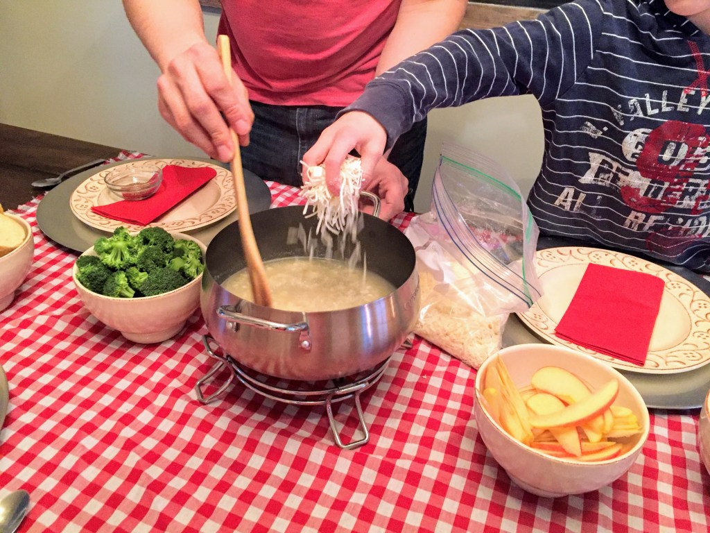 Simple Family Valentine's Day Traditions - fondue for dinner