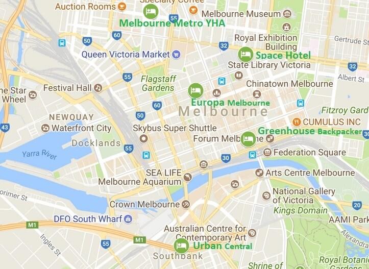 Carte auberges Melbourne
