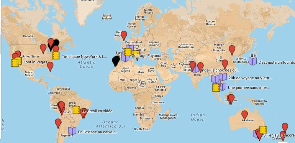 Carte blog voyage tour du monde