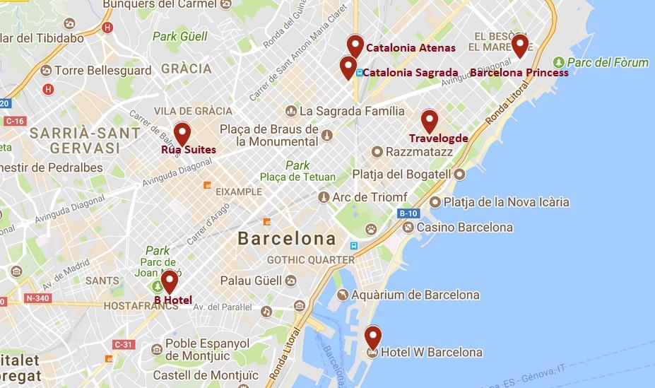 carte hôtels de Barcelone