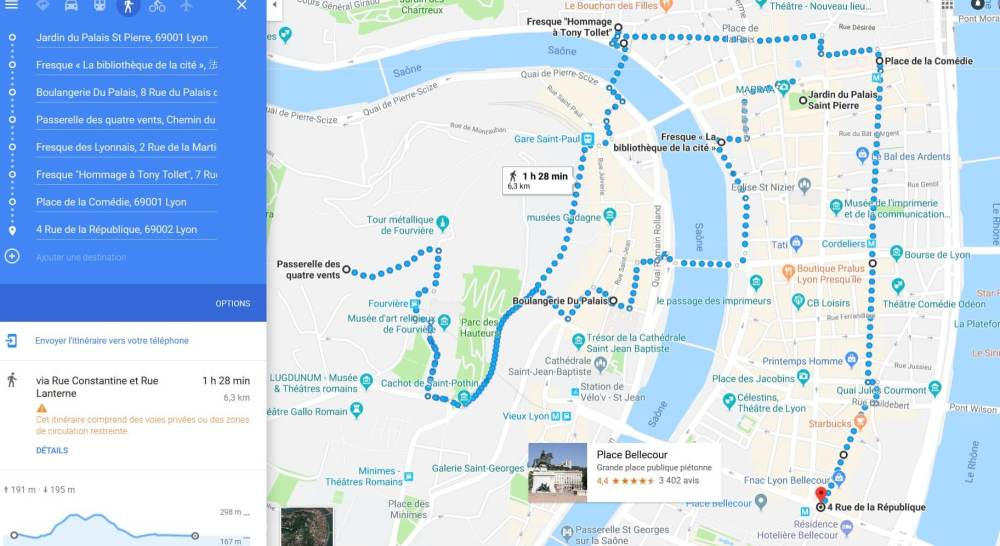 Carte itinéraire à pied Lyon