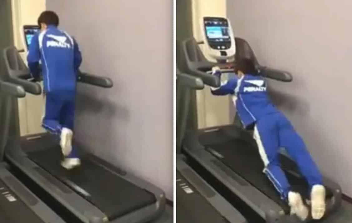 il tente de monter sur un tapis de course en marche regle a 25 km h et c est le drame video