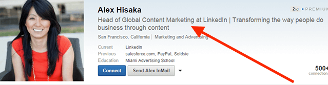 A screenshot of Alex Hisaka's LinkedIn profile, demonstrating a good practice of keeping an employer's name in your headline when using LinkedIn to find a job while employed.