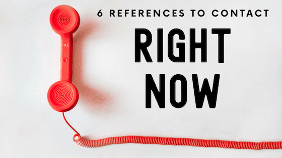 """A photo of a red, wired phone handset next to bolded text that reads: """"6 references to contact right now."""""""