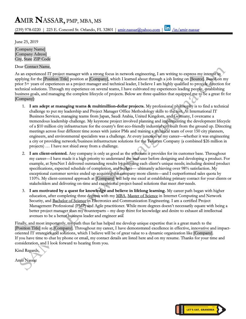 An image of a project manager cover letter sample, written professionally by a business writing consultant at Let's Eat, Grandma.