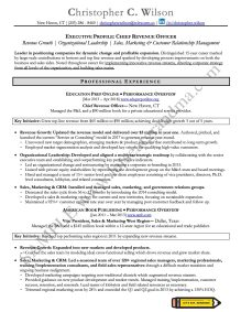 Page 1 of a CRO resume rewritten by Let's Eat, Grandma, one of 2 executive resume examples featured in this article.