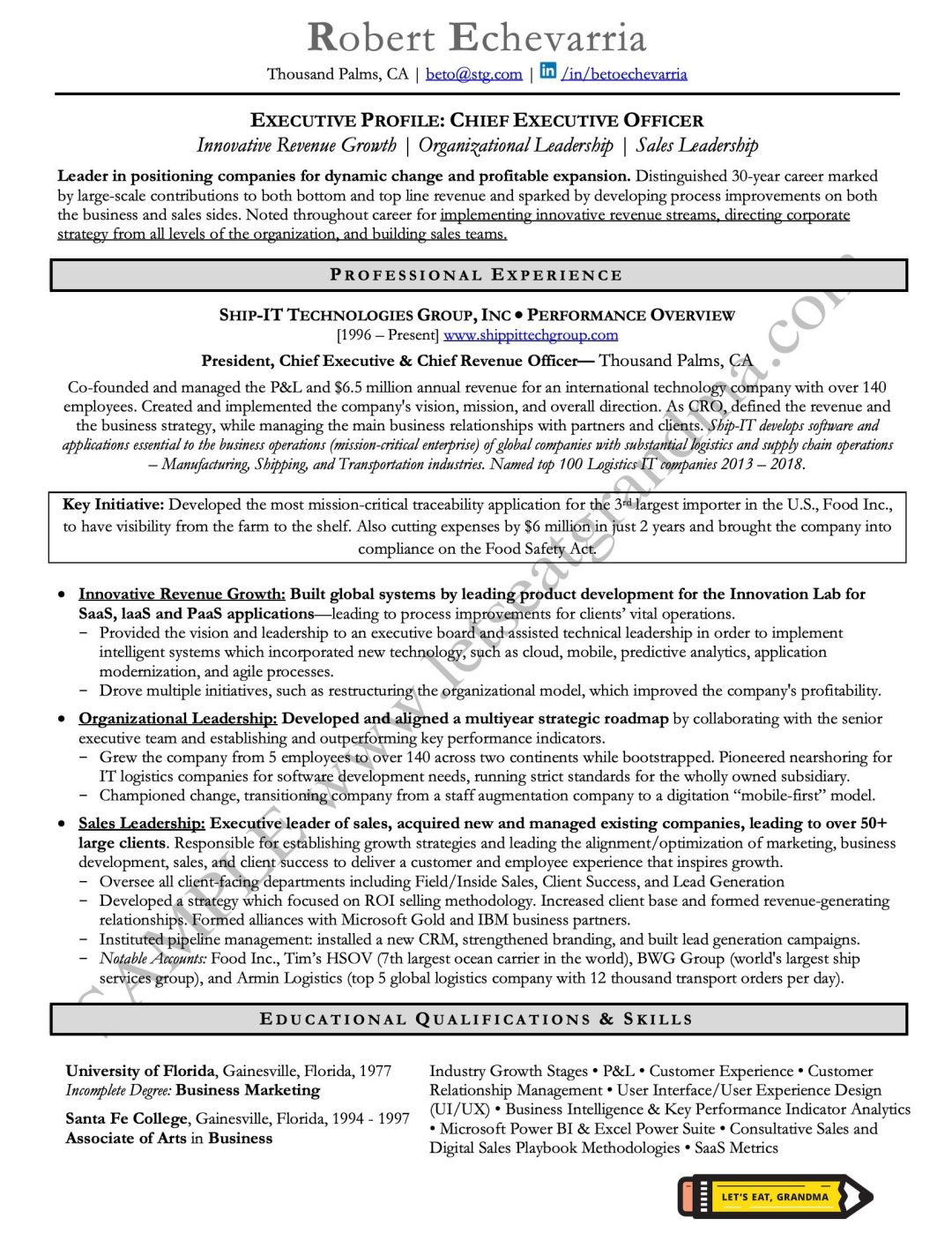 A sample of a CEO resume rewritten by Let's Eat, Grandma, one of 2 executive resume examples showcased in the article.