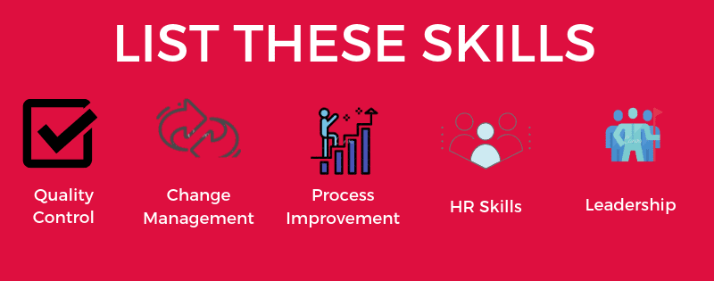 A graphic with icons representing the 5 in-demand operations manager resume skills listed in the article.