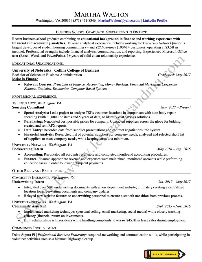 An example of a two-tier resume, an alternative to the functional resume format, written professionally by Let's Eat, Grandma.