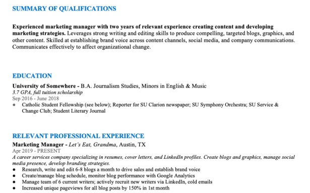 A screenshot of the author's resume demonstrating the flaw of too much resume line spacing.