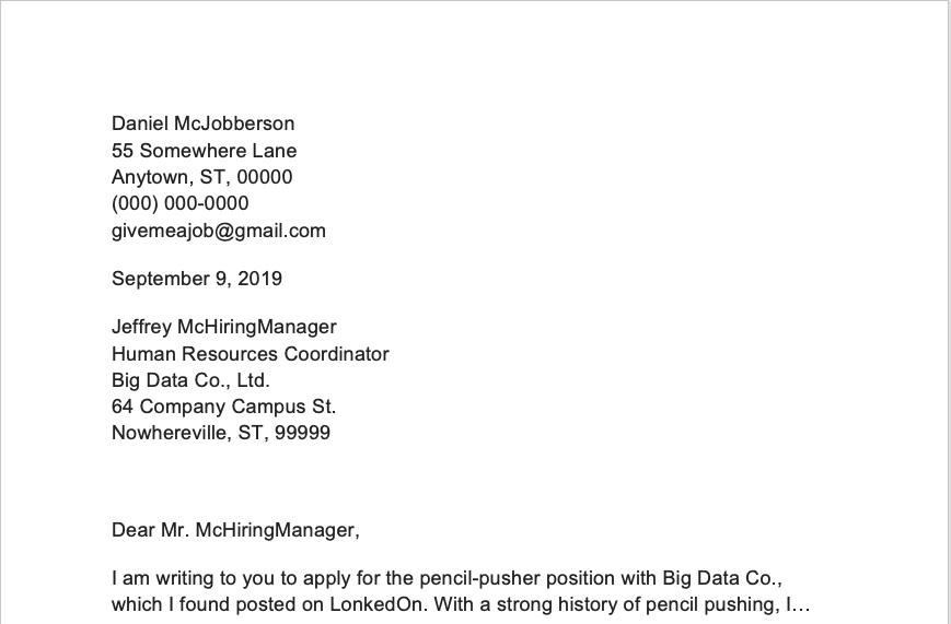 A screen shot of a hypothetical cover letter filled with extensive contact information, one of the factors to discern when deciding how long a cover letter should be.