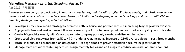 A screenshot of the author's resume, demonstrating how the same job could be tailored on a resume for two particular fields when applying for more than one job.