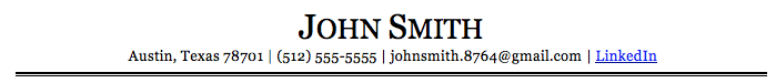 An example resume header written in the font Georgia, one of the best resume fonts.