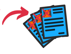 A graphic of three icons of resumes with x's drawn over the space that includes a photo, illustrating that you should not have a photo on your resume in 2021.