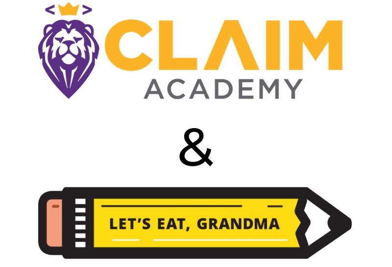 Claim Academy's logo next to Let's Eat, Grandma's logo