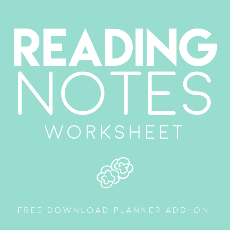 Reading Notes page // Planner Add-on