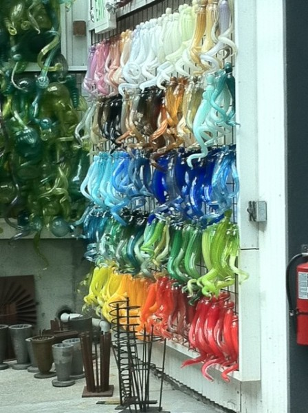 Inventory wall at Chihuly's BoatHouse and Hot Shop