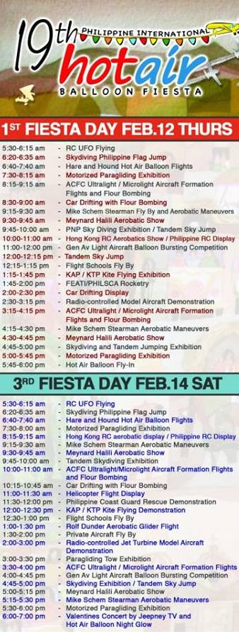 19th Philippine International Hot Air Balloon Festival Schedule (Day 1)