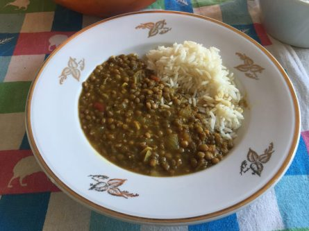 Dal ( Lentils ) and rice.