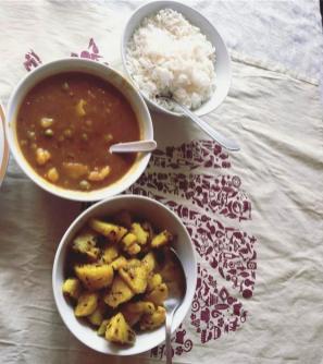 Cumin potato's , Aloo peas and rice.