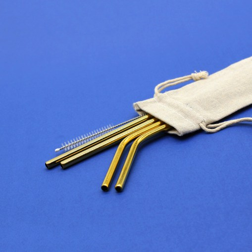 Stainless Steel Straws: Pouch (Gold Set)