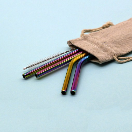 Stainless Steel Straws: Pouch (Rainbow Set)