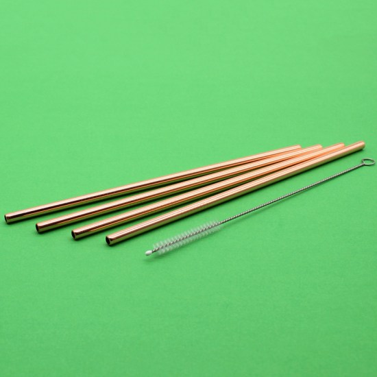 Stainless Steel Straws: Rose-Gold Set - 4