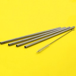 Stainless Steel Straws: Silver Set - 4