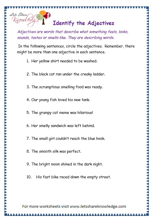 Grade 3 Grammar Topic 4 Adjectives Worksheets