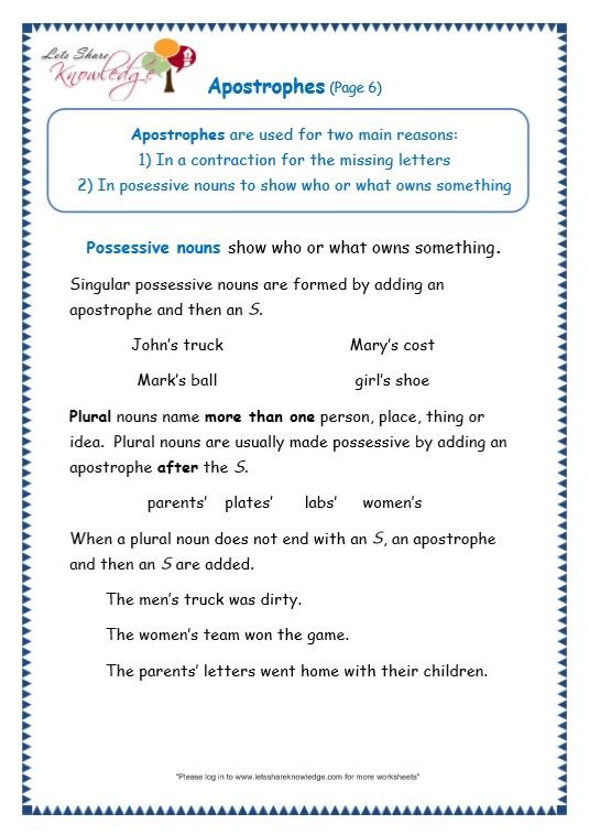 Grade 3 Grammar Topic 31 Apostrophe Worksheets