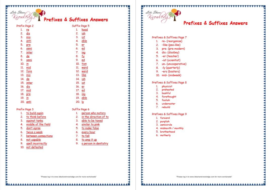 Grade 3 Grammar Topic 21 Prefix And Suffix Worksheets