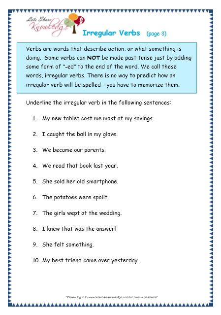 Grammar Worksheets Irregular Verbs Robertdee.org