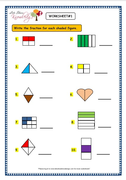 Grade 3 Maths Worksheets 7 1 Fractions