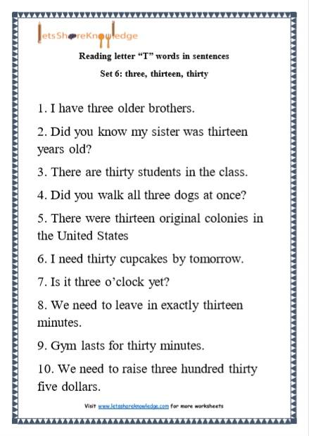 Kindergarten Reading Practice For Letter T Words In
