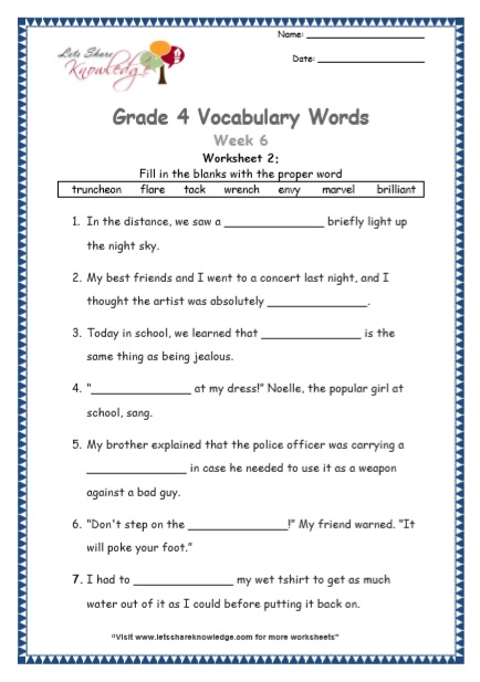 Grade 4 Vocabulary Worksheets Week 6