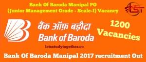 Bank Of Baroda Manipal 2017 recruitment