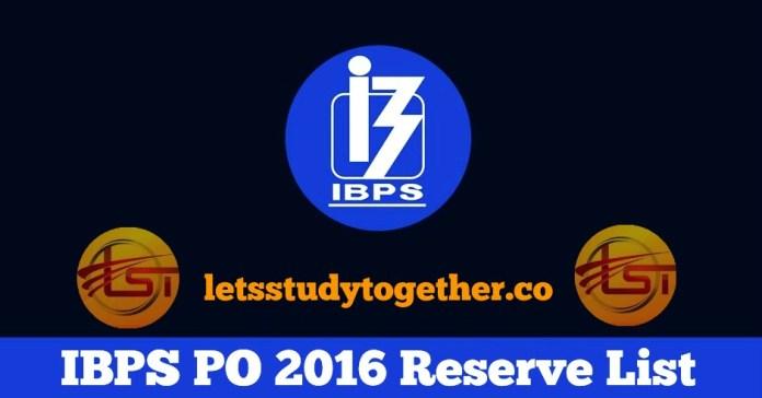 IBPS PO 2016 Reserve List