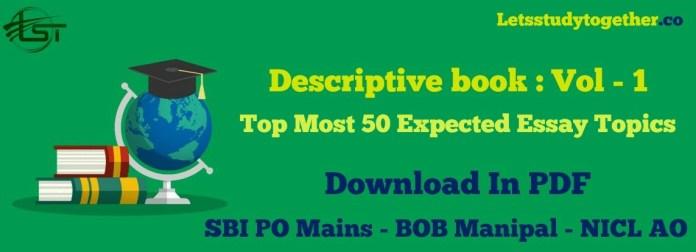 Descriptive Book Vol - 1 SBI PO / BOB Manipal NICL AO