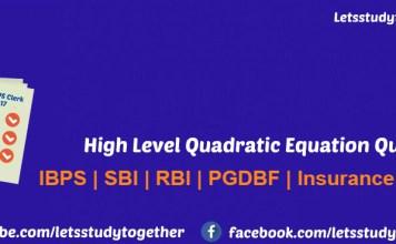 High Level Quadratic Equation Quiz