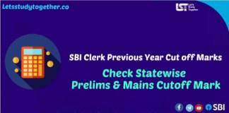 SBI Clerk Previous Year Cut off