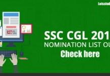 SSC CGL 2016 Nomination List