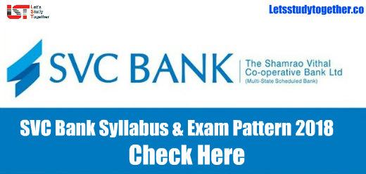 SVC Bank Syllabus & Exam Pattern