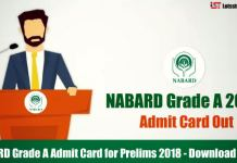 NABARD Grade A Admit Card for Prelims 2018 –Download Here