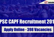UPSC CAPF Recruitment 2018
