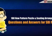 100 New Pattern Puzzle & Seating Arrangement Questions and Answers for SBI PO 2018