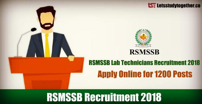 RSMSSB Lab Technicians Recruitment 2018 - Apply Online for 1200 Posts