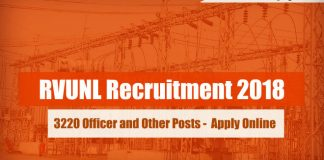 RVUNL Recruitment 2018 - 3220 Officer and Other Posts