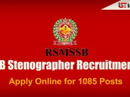 RSMSSB Stenographer Recruitment Notification 2018 – Apply Online for 1085 Posts
